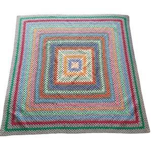 Crochet rainbow multicolor throw blanket